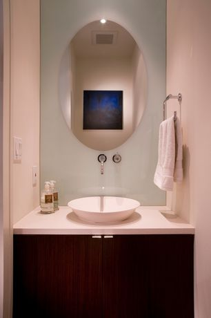 Modern Powder Room with Ren-Wil All-Glass 28-Inch X 22-Inch Oval Mirror, Powder room, Flush, European Cabinets, Vessel sink