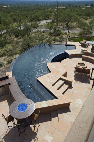 Contemporary Swimming Pool with Pathway, exterior stone floors, Fire pit, Infinity pool, Fence