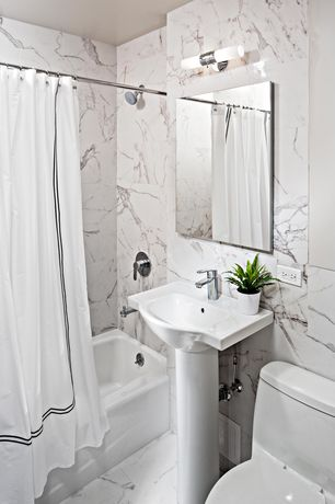 Traditional Full Bathroom with MS International  Statuary Venato Marble, High ceiling, Pedestal sink