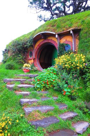 Eclectic Exterior of Home with Paint 2, New zealand, Paint 1, Hobbit house, Movie set