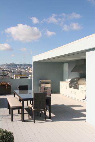 Modern Deck with Deck Railing, Outdoor kitchen