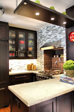 Contemporary Kitchen with electric cooktop, L-shaped, Shaker style cabinets, Wall Hood, Ceramic Tile, flush light, can lights