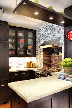 Contemporary Kitchen with Ceramic Tile, Ceiling soffit, flush light, Flat panel cabinets, Pental quartz taj mahal bq9453