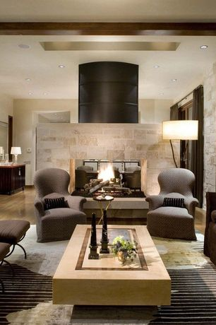 Contemporary Living Room with Hardwood floors, Exposed beam, United Tile Napolina by Quarry Collection, stone fireplace