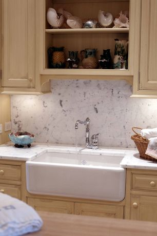 """Cottage Laundry Room with 30"""" baldwin fireclay farmhouse sink - decorative lip"""
