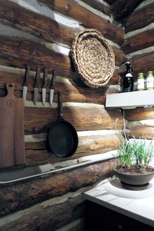 Rustic Kitchen with One-wall, Exposed logs, Pental quartz cascade white bq201, Standard height, Limestone counters