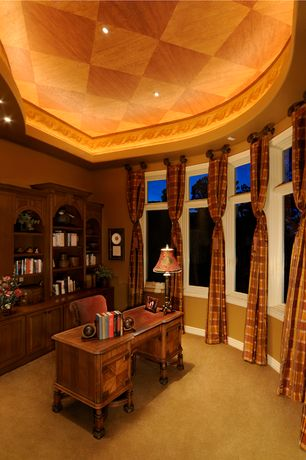 Country Home Office with Built-in bookshelf, Crown molding, Casement, can lights, High ceiling, Carpet