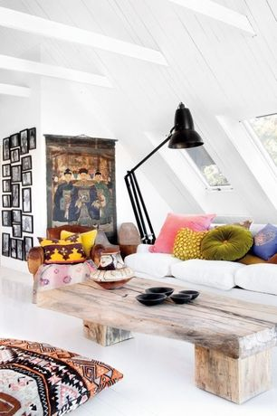 Eclectic Living Room with Window seat, Giant 1227 Floor Lamp, High ceiling, Exposed beam, Skylight, Hardwood floors