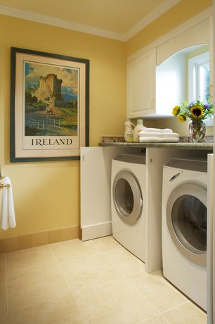Traditional Laundry Room with MS International Mixed Travertine, Built-in bookshelf, Crown molding, travertine tile floors