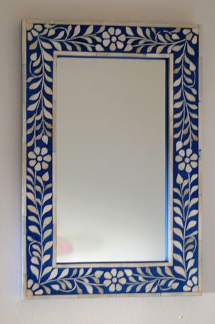 Mediterranean Living Room with Blue Floral Bone Inlay Mirror Small