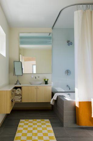 Contemporary Full Bathroom with Corian counters, Gatco Bleu 30-in H x 22-in W Rectangular Frameless Bathroom Mirror, Flush