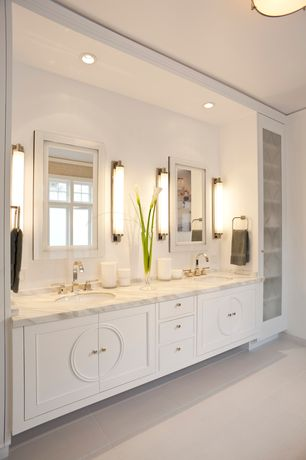 Art Deco Master Bathroom with Casement, Complex marble counters, European Cabinets, Master bathroom, Standard height, Flush
