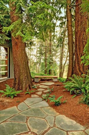 Rustic Landscape/Yard with Pathway, exterior stone floors, Rocky Mountain Silver Quarzite Flagstone, Flagstone path