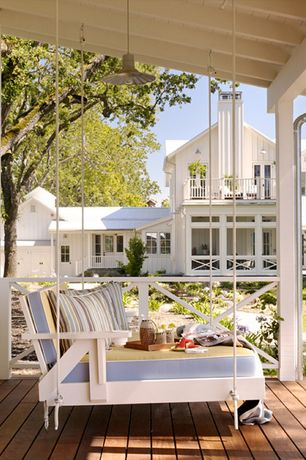 Cottage Porch with Deck Railing, picture window, Pathway, Paint, French doors, Wrap around porch, Porch swing