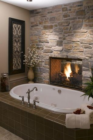 Rustic Master Bathroom with Master bathroom, Double fireplace, Mirabelle St. Augustine Widespread Bathroom Faucet