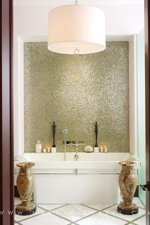 Contemporary Full Bathroom with Standard height, Multi Onyx Flower Vase, LINEN DRUM PENDANT, Full Bath, tiled wall showerbath