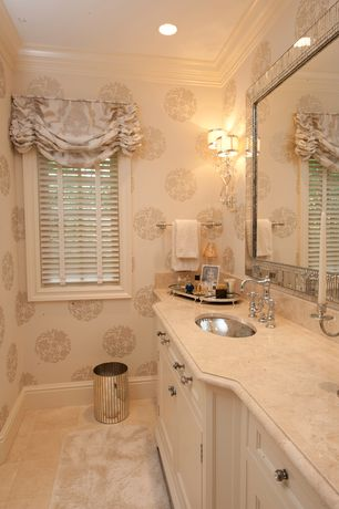 Traditional Master Bathroom with Albany wallpaper Naturale Damask, Horchow bordered mirror