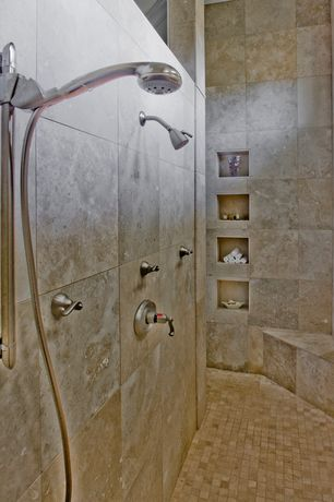 Traditional Master Bathroom with tiled wall showerbath, Adjustable showerhead, Shower, Built in shower storage