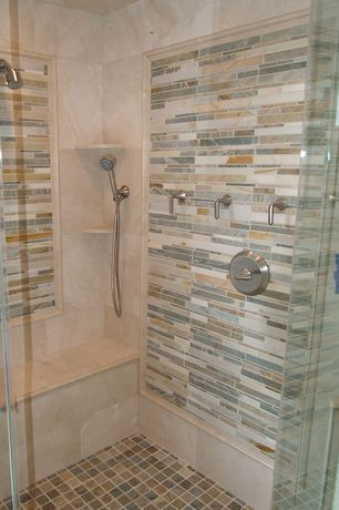 Contemporary Master Bathroom with Daltile - travertine durango 12 in. x 12 in. natural stone floor and wall tile