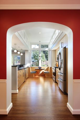 """Traditional Kitchen with can lights, 11"""" globe pendant, Galley kitchen, Destiny: slab cabinets, 4"""" stainless bar pull"""