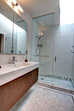 Contemporary 3/4 Bathroom with Pental - calacatta capraia polished marble shower frame, Pental - white gloss subway tile