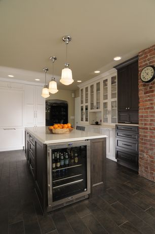 Modern Kitchen with Flat panel cabinets, Wine refrigerator, Corian Glacier White, Wood grain porcelain tile, L-shaped