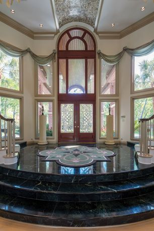 Traditional Entryway with Crown molding, Glass panel door, Laminate floors, High ceiling