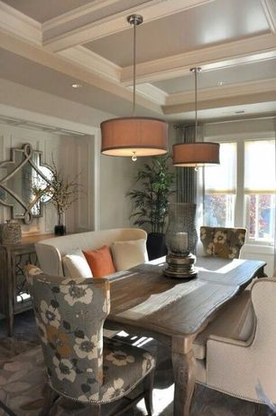 Traditional Dining Room with Pendant light, Exposed beam, can lights, double-hung window, Crown molding, Standard height