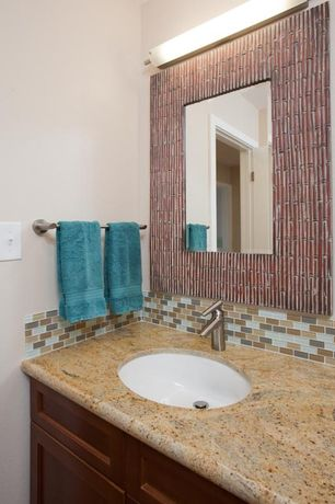 Modern Full Bathroom with Simple granite counters, Undermount sink, Powder room, Subway Tile, Flat panel cabinets, Paint1