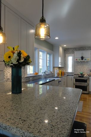 Traditional Kitchen with Pendant light, Flat panel cabinets, Hand blown glass pendant light, Flush, L-shaped, Quartz counters