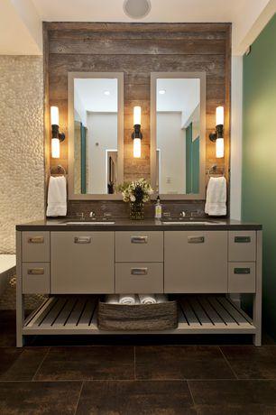 Contemporary Master Bathroom with full backsplash, stone tile floors, Flush, Corian counters, Master bathroom, Bathtub