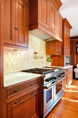 Traditional Kitchen with Inset cabinets, Crackle Diamond Ice 12 in. x 12 in. x 9 mm Ceramic Mosaic Wall Tile, Mosaic tile