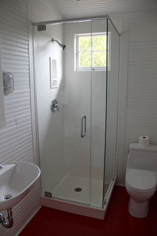 Cottage 3/4 Bathroom with frameless showerdoor, Casement, Wall sconce, Standard height, Undermount bathroom sink, Shower