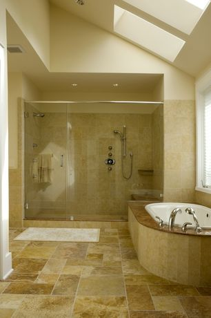 "Rustic Master Bathroom with American acrylic 58"" x 39"" soaker drop-in bathtub, Complex granite counters, Master bathroom"