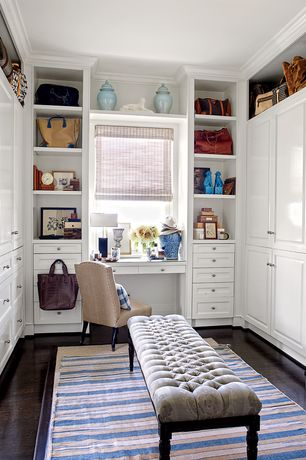 Traditional Closet with American Blinds Surrey Lilac Roman Shades, Laminate floors, Restoration hardware louis bench