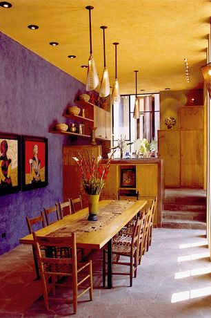 Eclectic Dining Room with MSI Random Sized Golden White Mesh Floor and Wall Tile in Multi Color, Wall sconce, Paint1, paint2