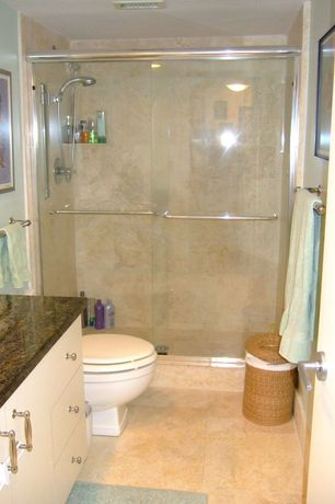 Traditional 3/4 Bathroom with Complex granite counters, flush light, Flush, Handheld showerhead, specialty door