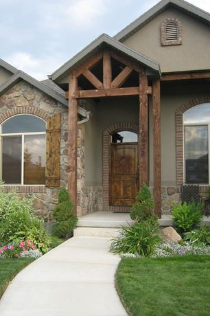 Front Door with Exterior solutions cottage style wood joined board-n-batten shutters w/ two battens - arch top