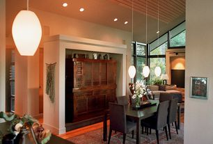 Asian Dining Room with Eglo 88954A Matte Nickel 3 Light Island / Billiard Fixture from the Batista 1 Collection