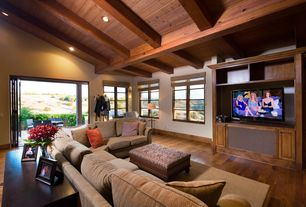 Contemporary Family Room with Exposed beam, High ceiling, Hardwood floors