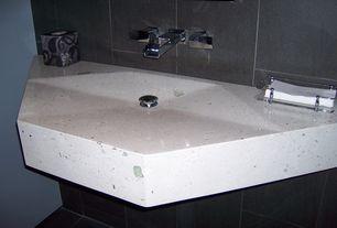 Modern Full Bathroom with Pental Cashmere Quartz, Paint 1, Signature Hardware Cheval Wall-Mount Bathroom Faucet