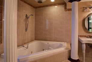Traditional Master Bathroom with Jacuzzi Primo 6060 Corner Whirlpool Bathtub, Handheld showerhead, Doric columns, Rain shower