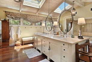 Cottage Master Bathroom with Window seat, Undermount sink, Flush, Arizona tile crema marfil marble, Exposed beam, Double sink