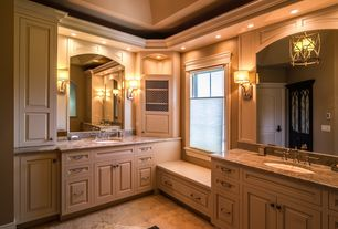 Traditional Master Bathroom with Complex Granite, Flat panel cabinets, Complex granite counters, Arched window, Raised panel