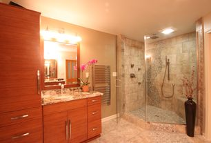 Contemporary 3/4 Bathroom with three quarter bath, Framed Partial Panel, Complex granite counters, Shower, Undermount sink