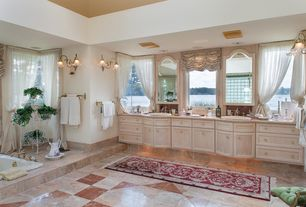 Traditional Master Bathroom with Wall sconce, Simple Marble, Simple marble counters, Double sink, Flat panel cabinets