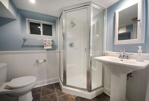 Traditional 3/4 Bathroom with Master bathroom, Standard height, can lights, Towel warmer, porcelain tile floors, Wainscotting