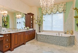 Traditional Master Bathroom with picture window, Simple marble counters, Raised panel, Bathtub, stone tile floors, can lights