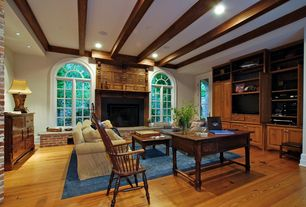 Traditional Living Room with can lights, other fireplace, Milliken Modern Times Harmony Blue Jay Area Rug, High ceiling