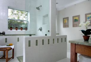 Modern 3/4 Bathroom with Vinyl floors, Undermount sink